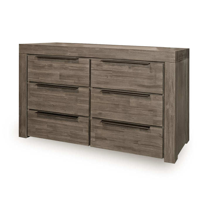 Modern grey six drawer bedroom dresser Arctic Collection The Bed Shop