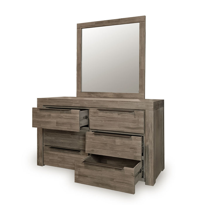 Modern grey six drawer bedroom dresser with mirror Arctic Collection The Bed Shop
