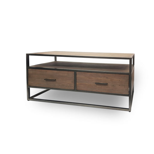 modern wooden and metal entertainment unit two drawer Belmont Collection The Bed Shop