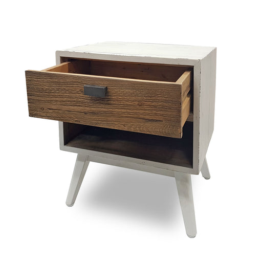 wooden bedside one drawer white wash natural Brooklyn Collection The Bed Shop