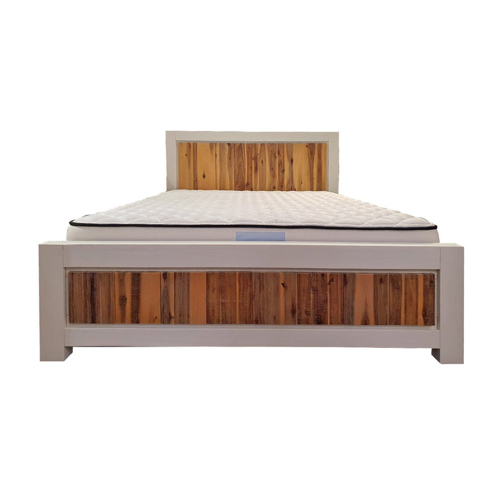 Bed frame white with natural wood headboard Costa Rica Collection The Bed Shop