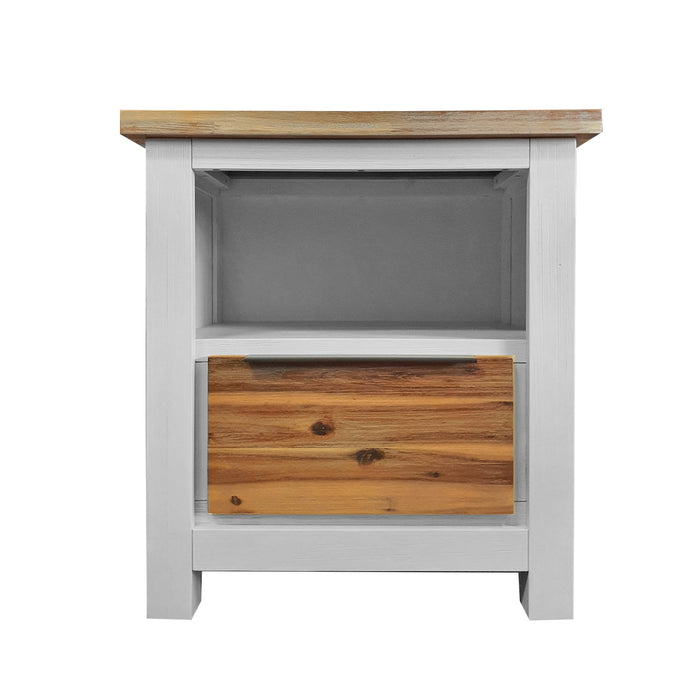 Wooden white and natural one drawer bedside table Costa Rica Collection The Bed Shop