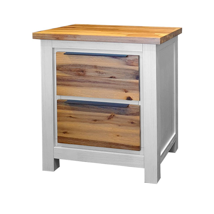Wooden white and natural two drawer bedside table Costa Rica Collection The Bed Shop