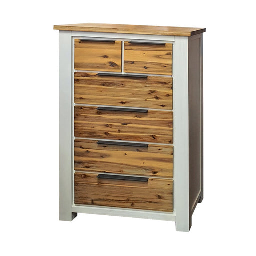 Wooden white and natural six drawer tallboy Costa Rica Collection The Bed Shop