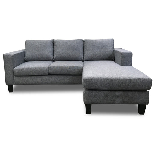 Corner chaise lounge suite Upholstered grey fabric Uno The Bed Shop