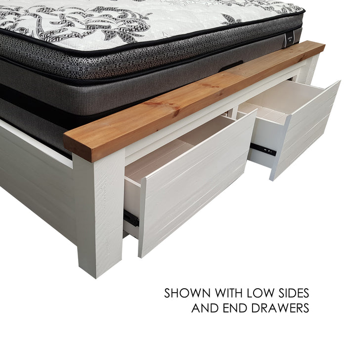 White bed frame with two drawer storage Harlow Collection The Bed Shop