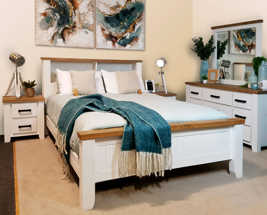 White bookend headboard bed frame Harlow Collection The Bed Shop