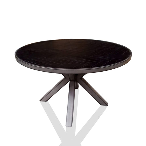 modern metal and wood round dining table Houston Collection The Bed Shop