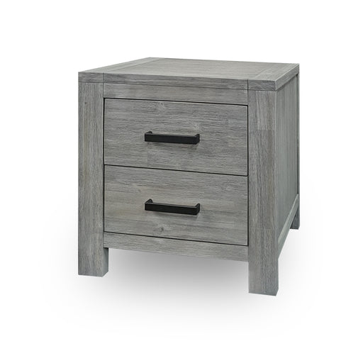 Grey wood 2 drawer bedside Hudson Collection The Bed Shop