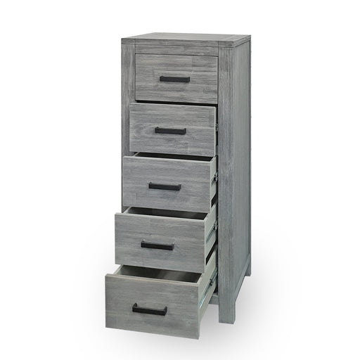 Grey wood 5 drawer slimboy tallboy Hudson Collection The Bed Shop