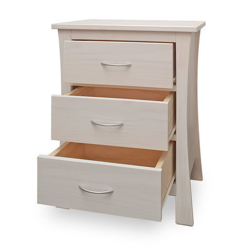 wooden bedside with three drawers custom New Zealand made Maddison Collection The Bed Shop