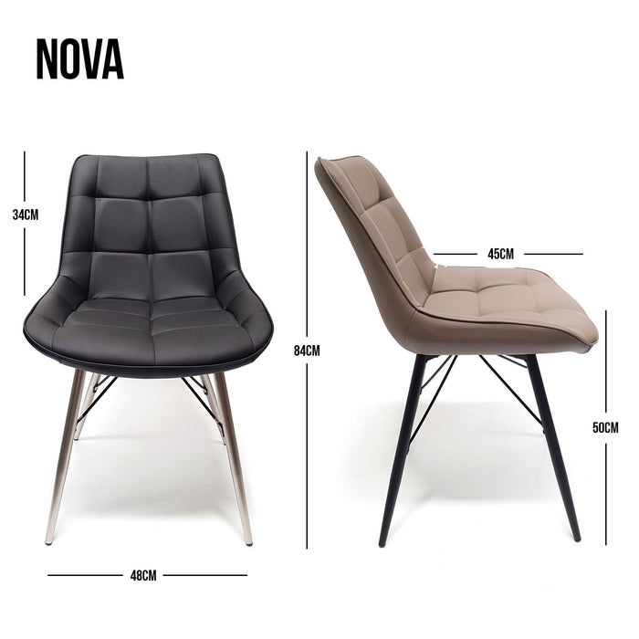 Dining chair pu material with metal legs Nova The Bed Shop