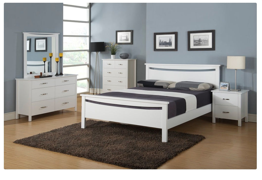 white bed frame with headboard Polly Collection The Bed Shop
