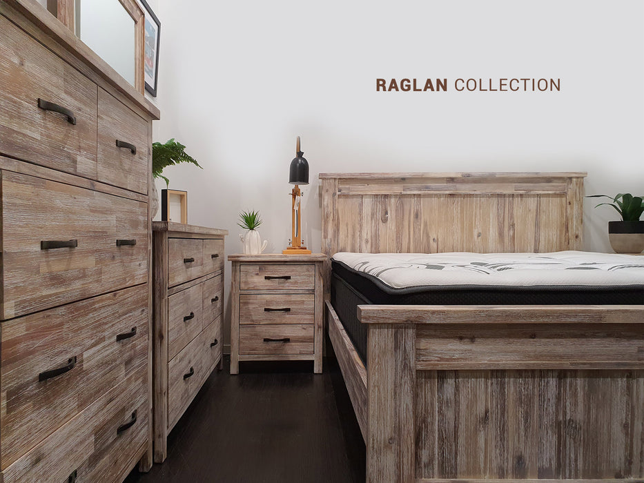 Natural wood bedside with 3 drawers Raglan Bedroom Collection The Bed Shop