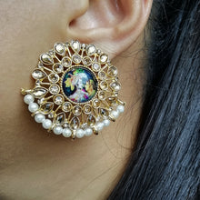 Load image into Gallery viewer, Radha Krishna Stud Earrings - Gold Plated
