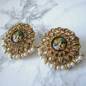 Radha Krishna Stud Earrings - Gold Plated