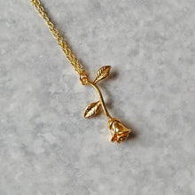 Load image into Gallery viewer, Single Rose Romantic Rosebud Necklace - Gold