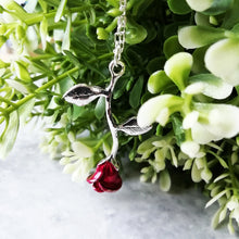 Load image into Gallery viewer, Single Rose Romantic Rosebud Necklace - Red & Silver