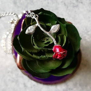 Single Rose Romantic Rosebud Necklace - Red & Silver