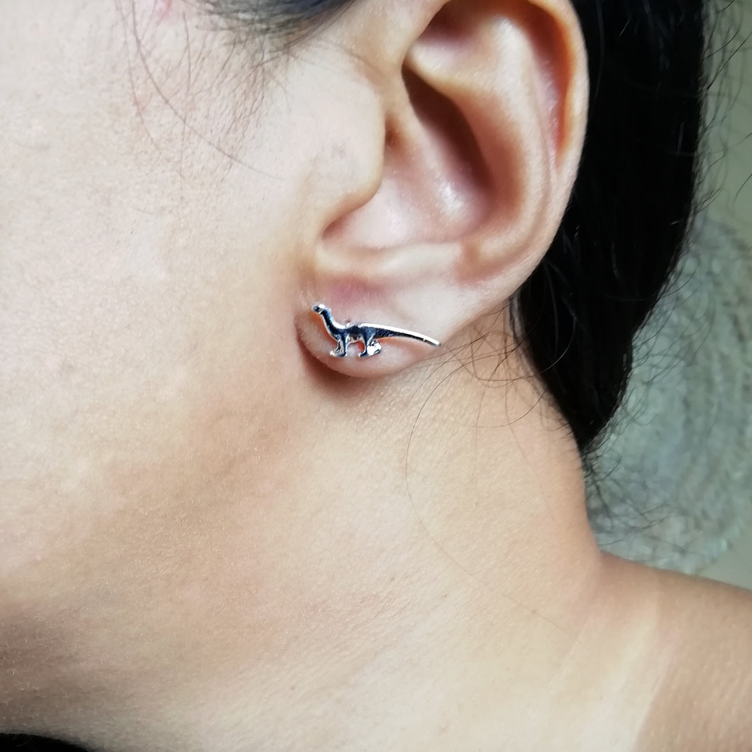 Silver Long Neck Dino Studs