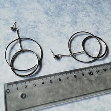 Load image into Gallery viewer, Edgy Minimalist Silver Hoop Dangle & Drop Earrings
