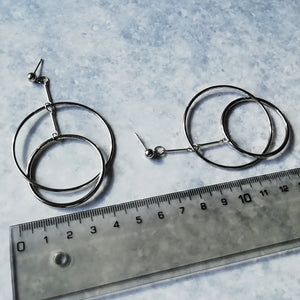 Edgy Minimalist Silver Hoop Dangle & Drop Earrings