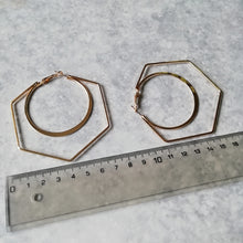 Load image into Gallery viewer, Gold Hexagon Honeycomb Hoop Earrings