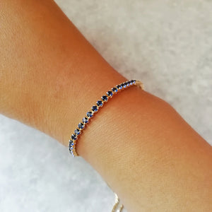 Blue & Gold Crystal Tennis Bracelet