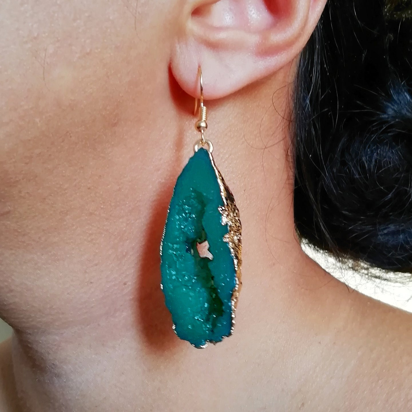 Green Faux Crystal Druzy Earrings