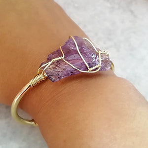 Amethyst Gold Wire Wrap Druzy Bangle