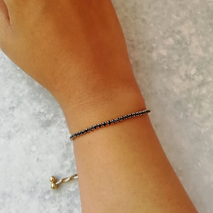 Black & Gold Crystal Tennis Bracelet