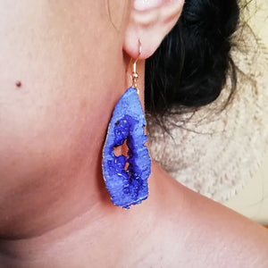 Purple Faux Crystal Druzy Earrings