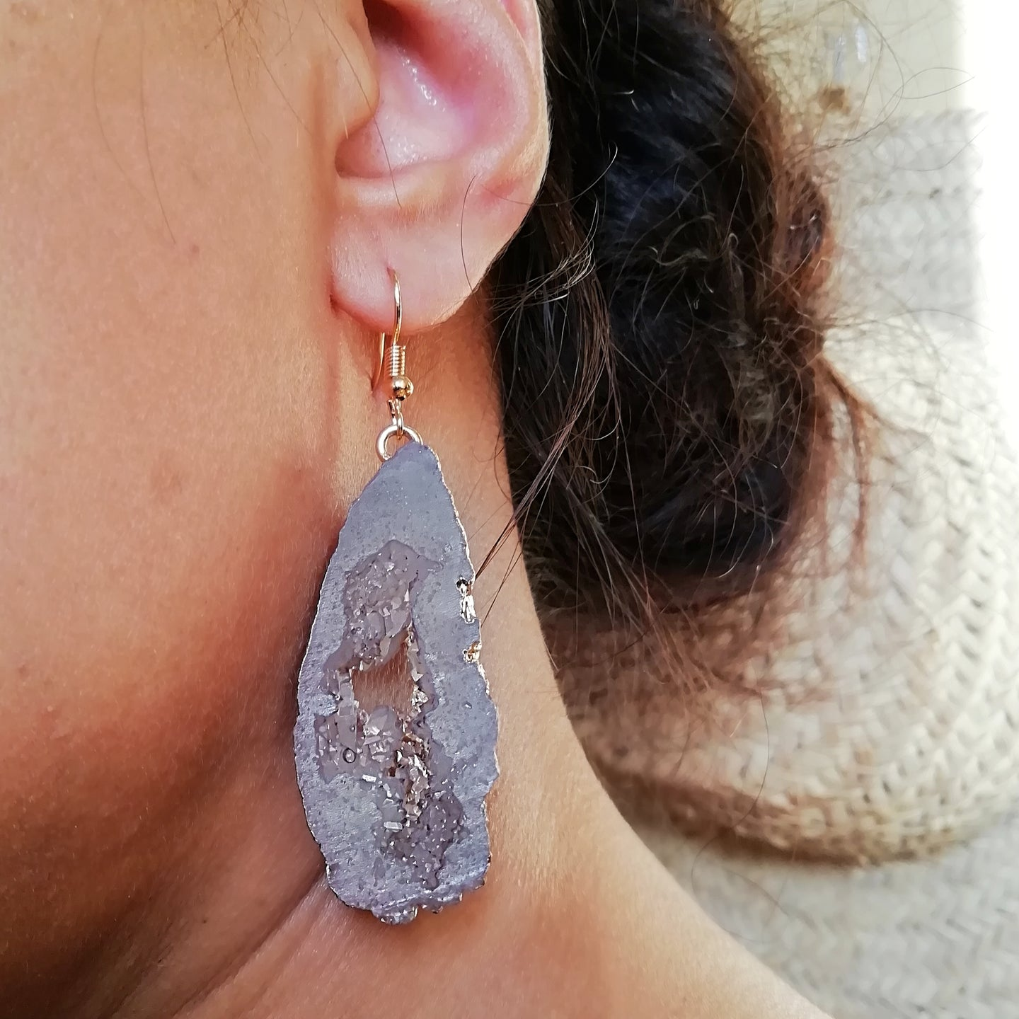 Mauve Faux Crystal Druzy Earrings