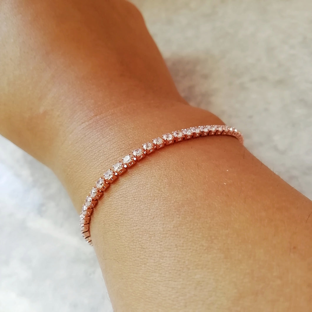 Rose Gold & White Crystal Tennis Bracelet