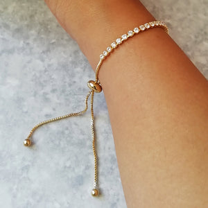 Gold & White Crystal Tennis Bracelet
