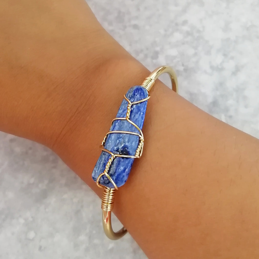 Kyanite Gold Wire Wrap Bangle