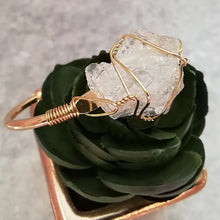 Load image into Gallery viewer, White Crystal Gold Wire Wrap Druzy Bangle