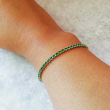 Load image into Gallery viewer, Green & Gold Crystal Tennis Bracelet