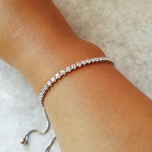 Load image into Gallery viewer, Silver & White Crystal Tennis Bracelet