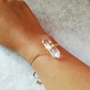 Clear Crystal Quartz Druzy Bracelet