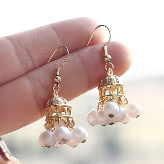 Faux Pearl Princess Carriage Earrings
