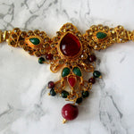 Gold Plated Adjustable Armband with Faux Ruby and Emerald detail