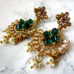 Emerald & Champagne Pearl Earrings - Gold Plated