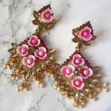 Gold Plated Floral Fuschia Earrings with Mini Faux Pearls and Stone Detail