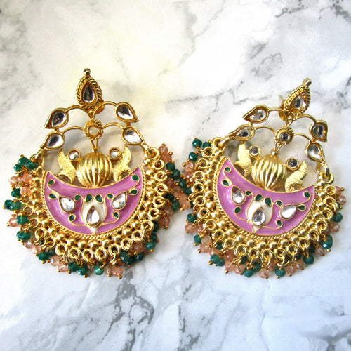 Beautiful handpainted gold, pink and green statement earrings with intricate detail throughout. These earrings are a beautiful statement piece perfect for everyday wear or special occasions.