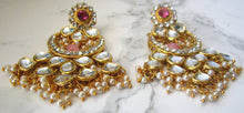 Load image into Gallery viewer, Pink and Gold large statement chandelier earrings. These earrings are perfect for a special occasion or party.