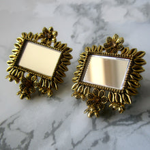 Load image into Gallery viewer, Beautiful and intricate lightweight gold mirror studs with rectangular shaped mirror in the middle. These earrings are perfect for all occasions including everyday wear, parties and even for work.