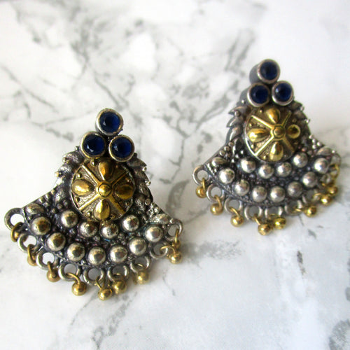 Silver, Gold and Blue Statement Stud Earrings - Perfect for all occasions.