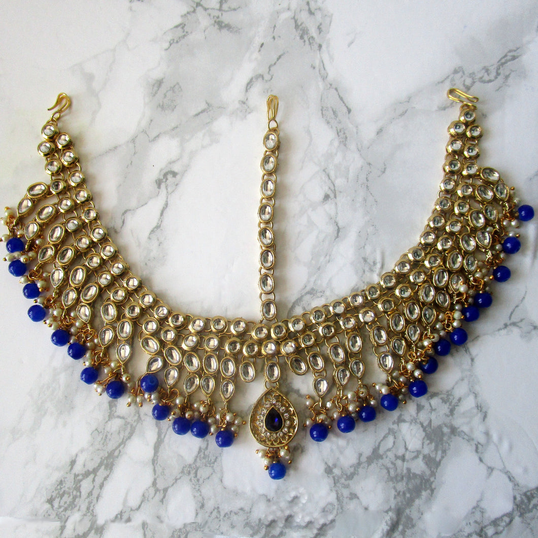 Large gold plated head piece/mathapatti with royal blue detail. Perfect for all special occasions.
