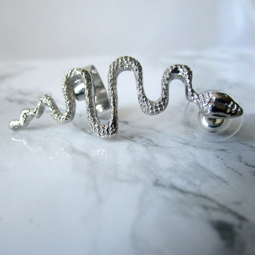 Silver Snake Earring and Cuff - Statement Earring Piece.